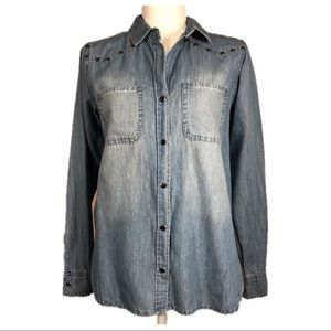 NEW Rock & Republic Denim Button Down Shirt Sz XS
